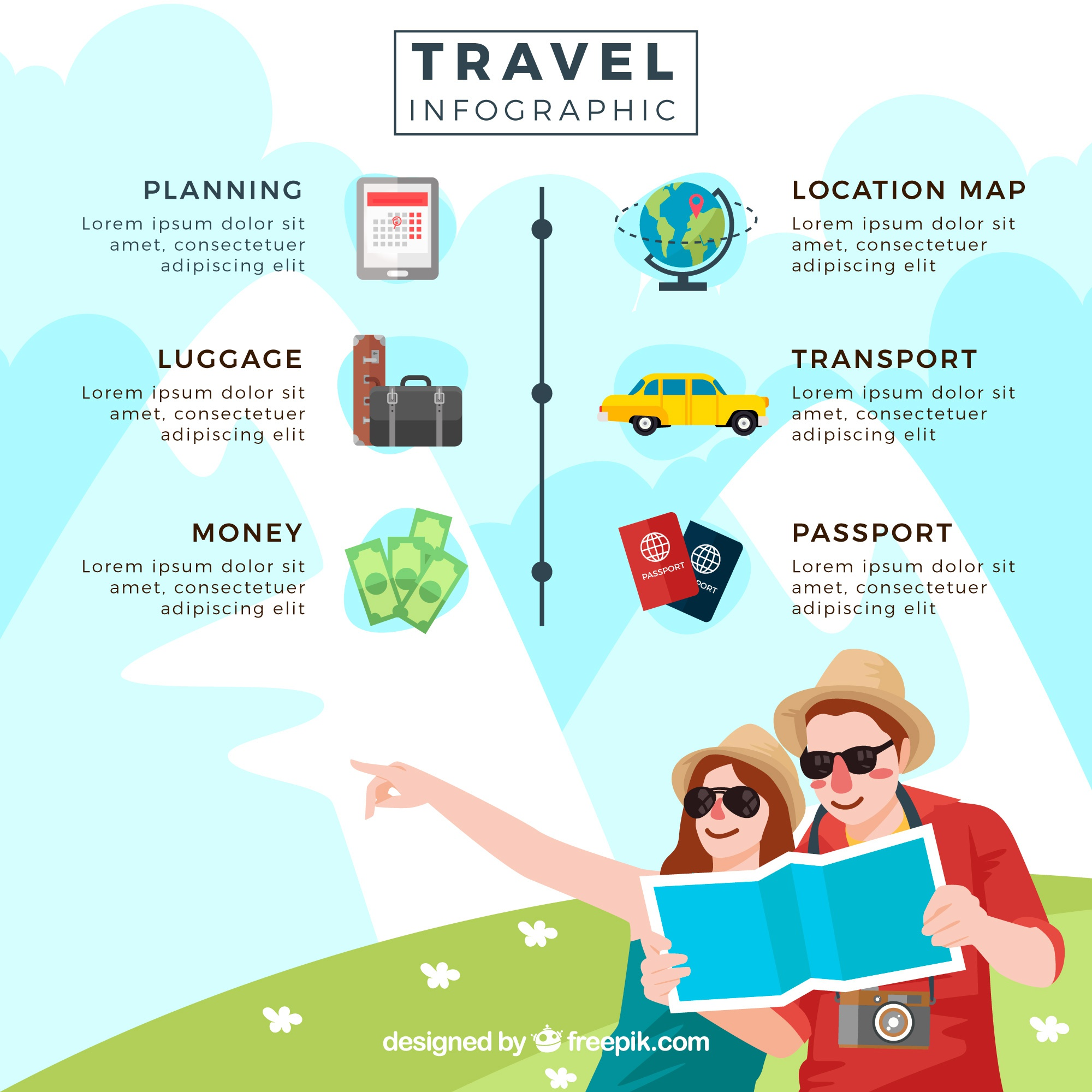 Summer travel coppia computer grafica