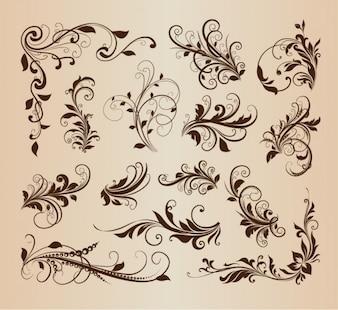 Swirly elementi floreali in design vintage