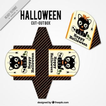 Tagliare scatola con gattino bello per halloween