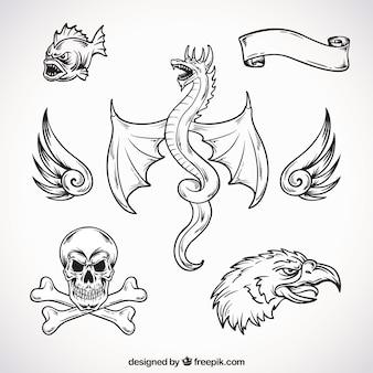 Tatuaggi creativi disegnati a mano