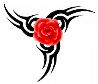 Tatuaggio tribale con rosa