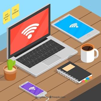 Tecnologia collegata tramite wifi