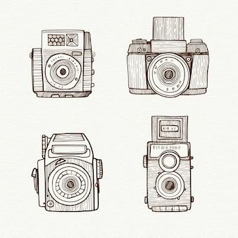 Telecamere disegnate a mano con raccolta flash