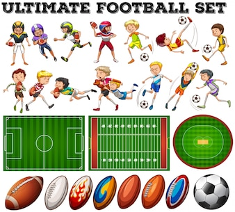 Tema di calcio con i giocatori ed illustrazione della sfera