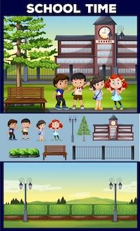 Tema scolastico con studenti e campus illustrazione