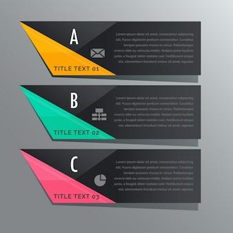 Tema scuro tre gradini striscioni infographic con icone del mondo