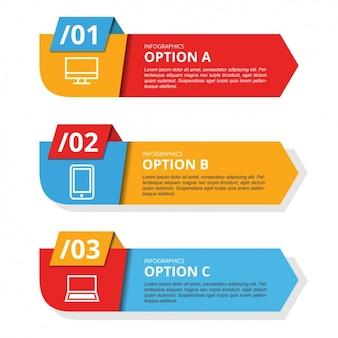 Template Infografica con tre striscioni