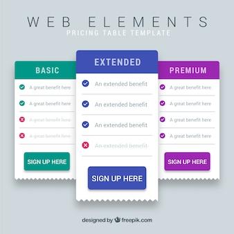 Template tavoli Web
