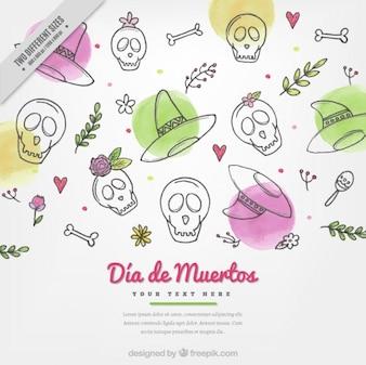 Teschi e cappelli messicani per il giorno dei morti