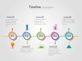 Timeline della mappa stradale Struttura infografica con 5 passaggi.