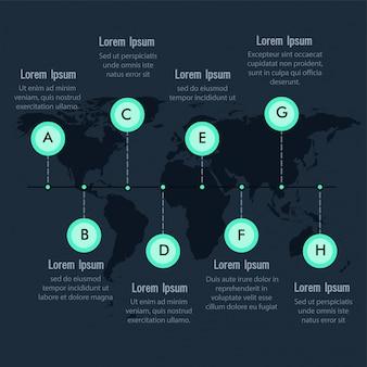 Timeline della tabella di marcia Layout infografica sul worldmap con 8 passaggi.