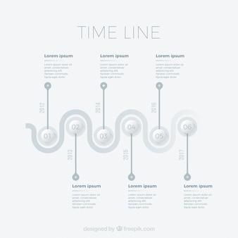 Timeline infografica in toni grigi