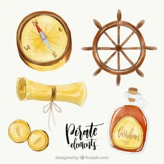 Timone con elementi acquerello pirata