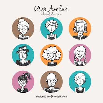 Tiraggio della mano avatar utente con cerchi colorati