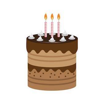 Torta di compleanno con bella guarnizione e candele. Illustrazione vettoriale