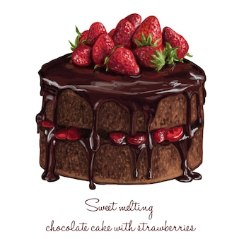 Torta dolce al cioccolato fondente con le fragole