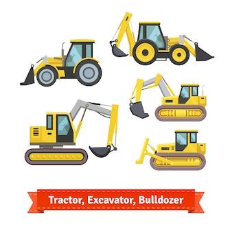 Trattore, escavatore, set di bulldozer