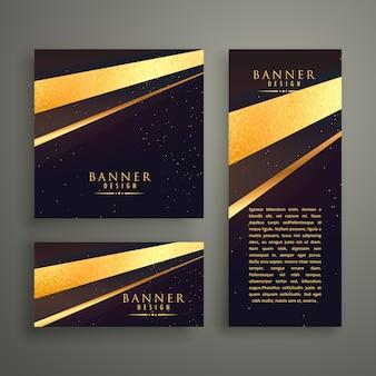 Tre bandiere di lusso vettore set di progettazione di carta