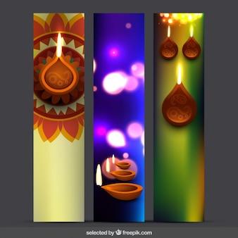 Tre bandiere Diwali