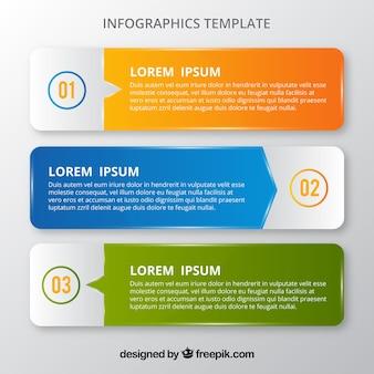 Tre banner infografici colorati