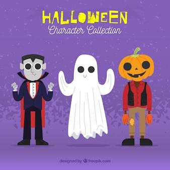 Tre personaggi disegnati a mano di Halloween