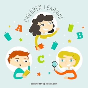 Tre scene con i bambini l'apprendimento