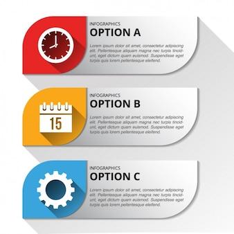 Tre striscioni con opzioni per un infografica