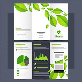 Tri-Fold Leaflet, Brochure per il concetto di ecologia.