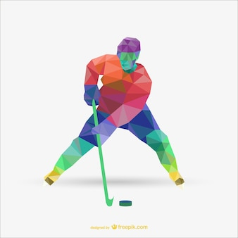 Triangolo vettoriale astratta di giocatore di hockey