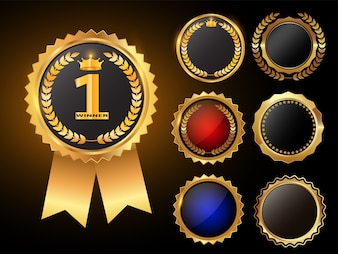 Trofeo d'oro e medaglia con illustrazione vettoriale corona d'alloro