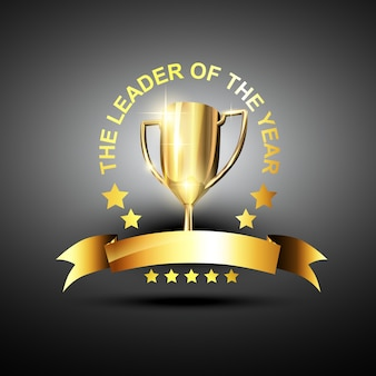 Trofeo vettoriale in colore dorato nel tema principale del business