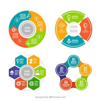 Un insieme colorato di infografici circolari