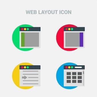 Un insieme di quattro belle icone di layout web