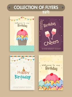 Un insieme di quattro volantini della festa di compleanno o biglietti d'invito di progettazione