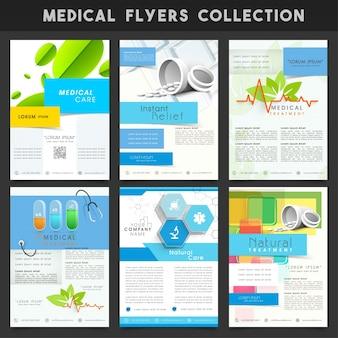 Un insieme di sei diversi template, banner o volantino di progettazione per la salute e il concetto medico
