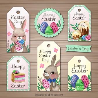Un insieme di sei etichette di acquerello per il giorno di Pasqua