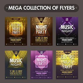 Un insieme di sei lucido volantini, modelli o biglietti d'invito design per la celebrazione Musica Party Night