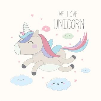 Unicorno carino. Illustrazione del personaggio dei cartoni animati di vettore.