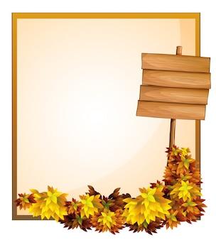 Uno spazio vuoto e il cartello vuoto di legno