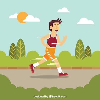 Uomo, correndo, veloce, fondo