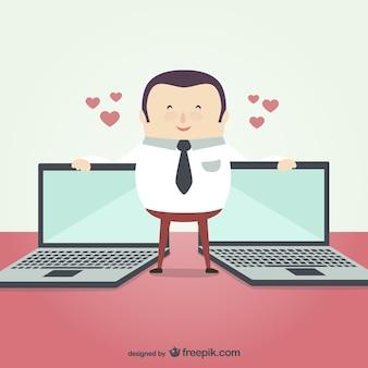 Uomo d'affari con i computer portatili