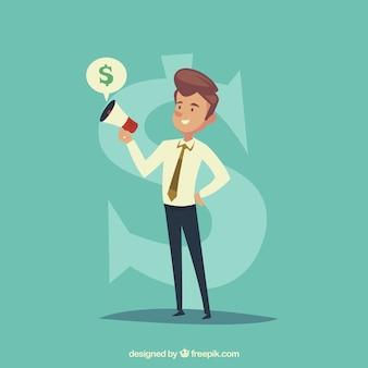 Uomo d'affari con il megafono e il simbolo del dollaro