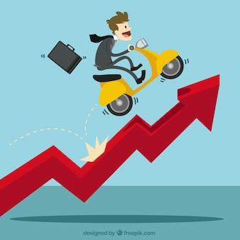 Uomo d'affari con uno scooter over diagramma crescente