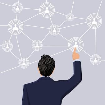 Uomo d'affari in metà lunghezza di lunghezza schiena a mano schermo di tocco sociale netto concetto illustrazione vettoriale