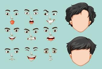 Uomo senza volto e volti diversi con emozioni