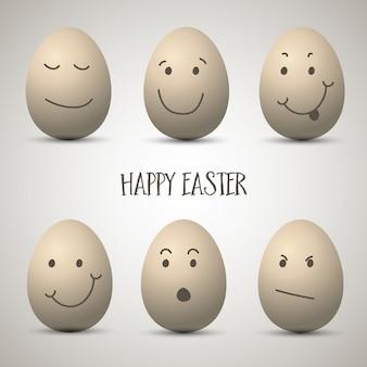 Uova di Pasqua con volti disegnati carino mano