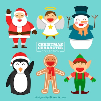 Varietà carina di personaggi felici di natale
