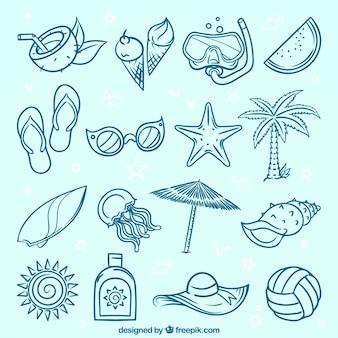 Varietà di elementi d'estate decorativi in stile disegnato a mano