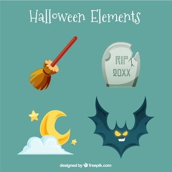 Varietà di elementi di halloween piatto