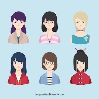 Varietà moderna di avatar femminili